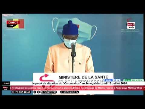 """Le point de situation du """"Coronavirus"""" au Sénégal du Lundi 13 Juillet 2020"""