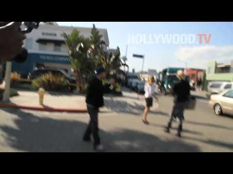 Rachel Hunter looks so good she stops traffic , abruptly!!