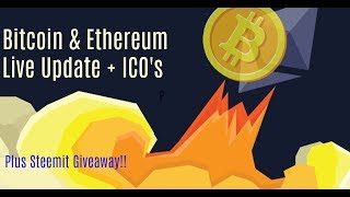 Ethereum And Bitcoin Live Friday Update+ ICO's & Steemit Giveaway!
