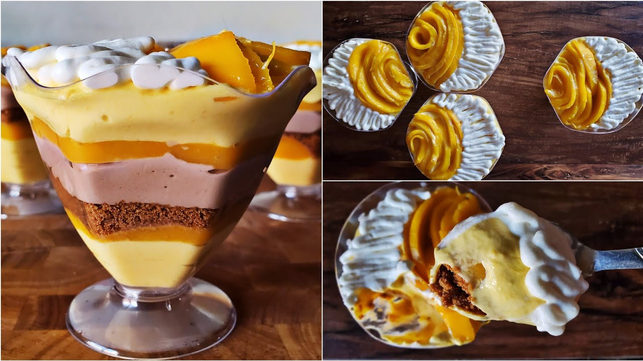 5 Ingredient Nutella Mousse Layered Mango Dessert | Mango Dessert Recipe by Topstovecooking