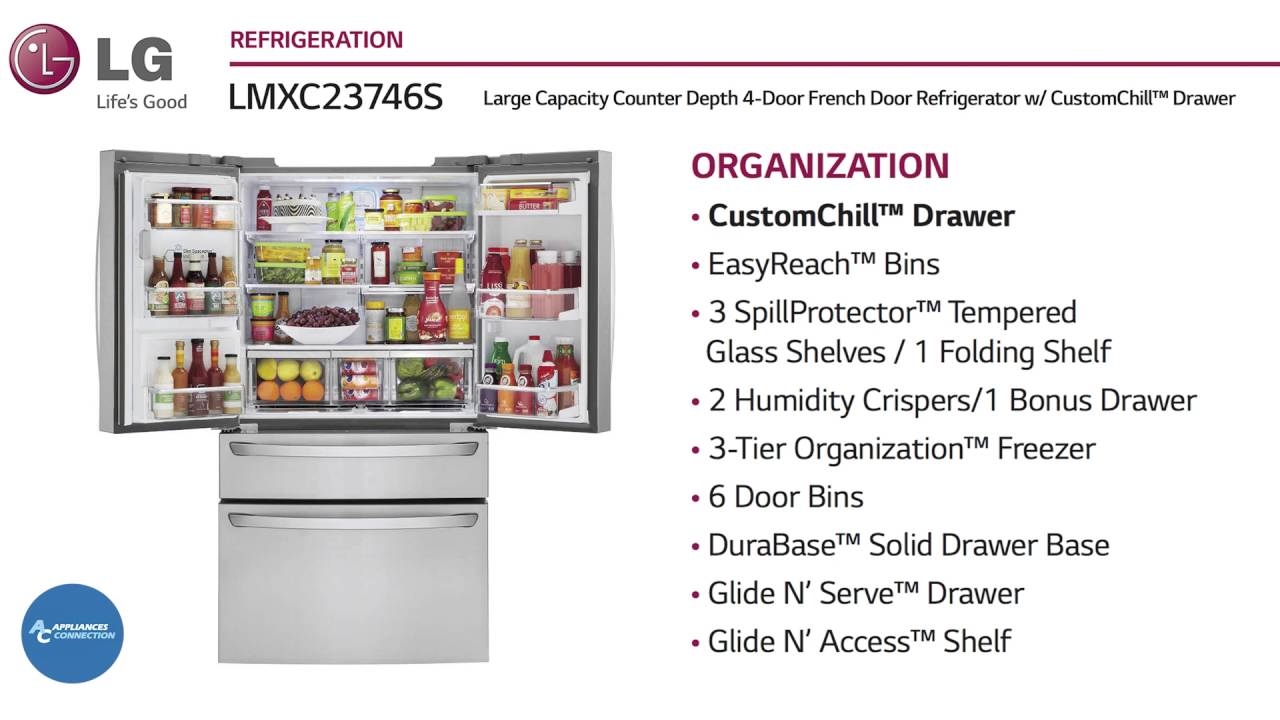 LG Counter Depth French Door Refrigerator LMXC23746S At  Www.appliancesconnection.com