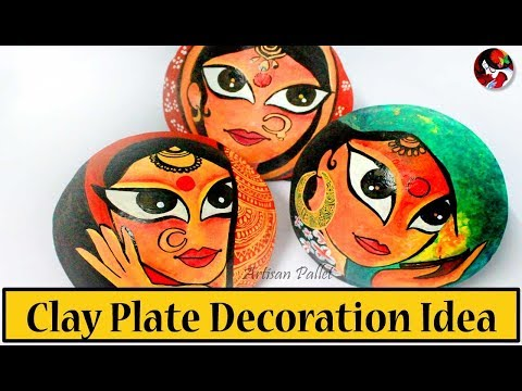 DIY Wall Hanging Clay Plate Painting Techniques | Home Decor, How to make Decorative Wall Plates