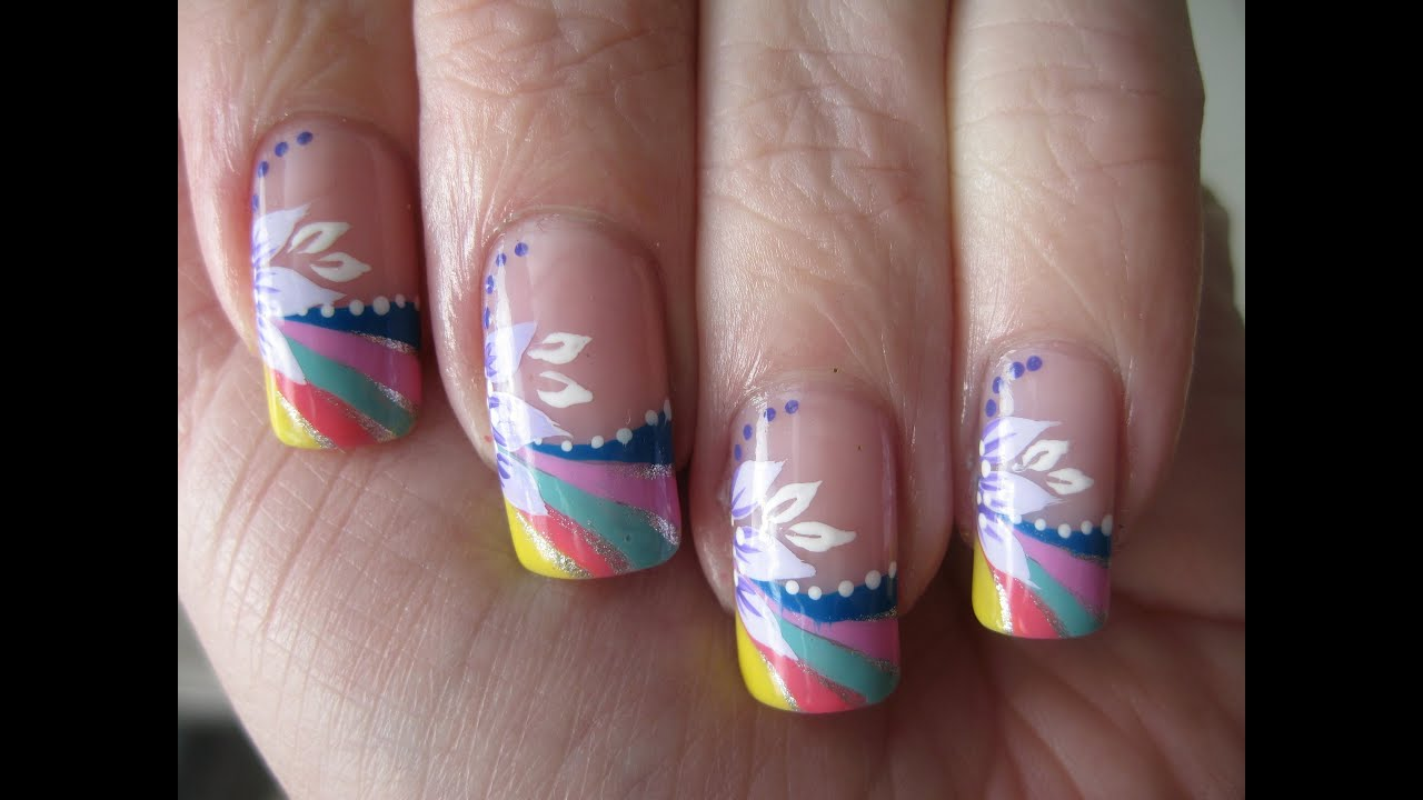 Nail art: Rainbow french tip with flower - YouTube