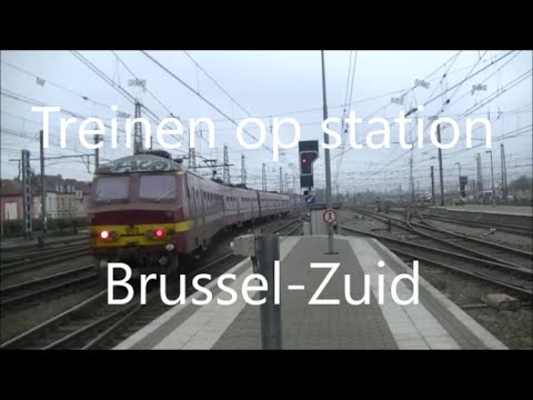 Treinen in station Brussel-Zuid op 23/01/16