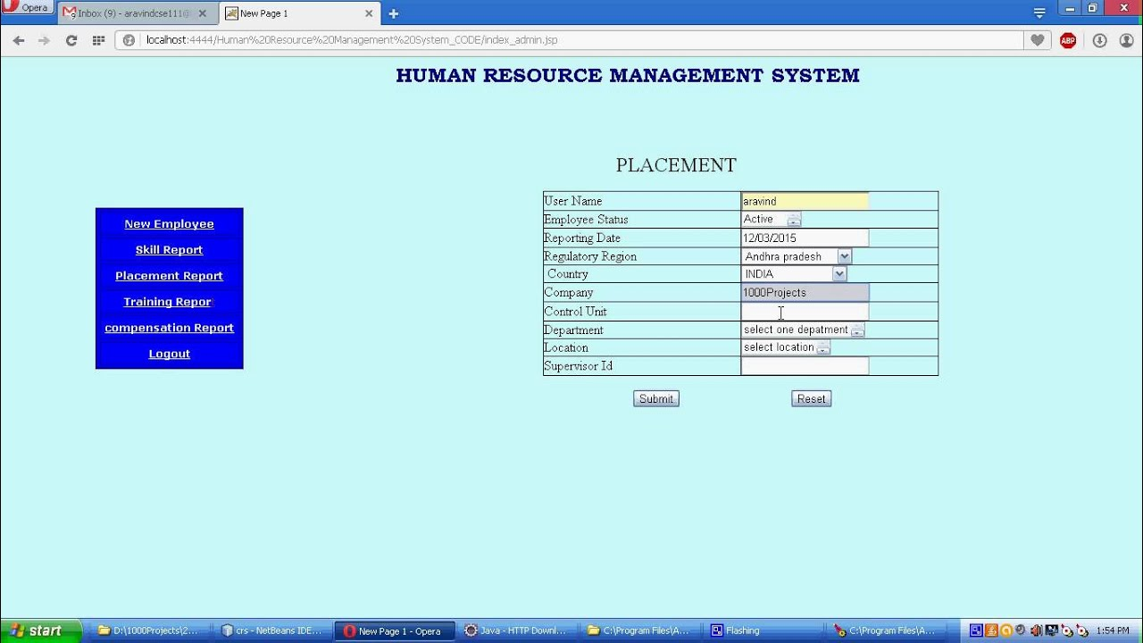 Human Resource Management System Java Project