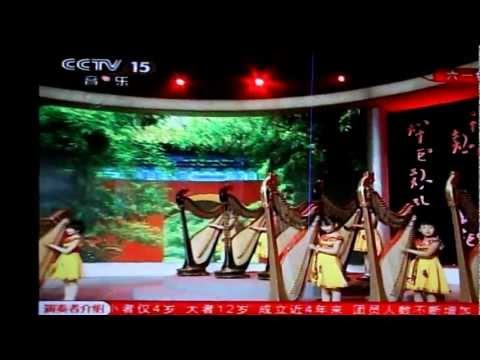 Girls Playing Harp In Shanghai's TV