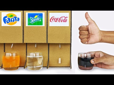How to make Cold Drink Dispenser machine from cardboard diy at home Coca Cola and Pepsi