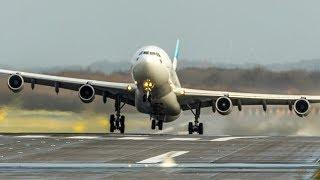 STORM Benjamin - Airbus A340 CROSSWIND Departure + Landings (4K)