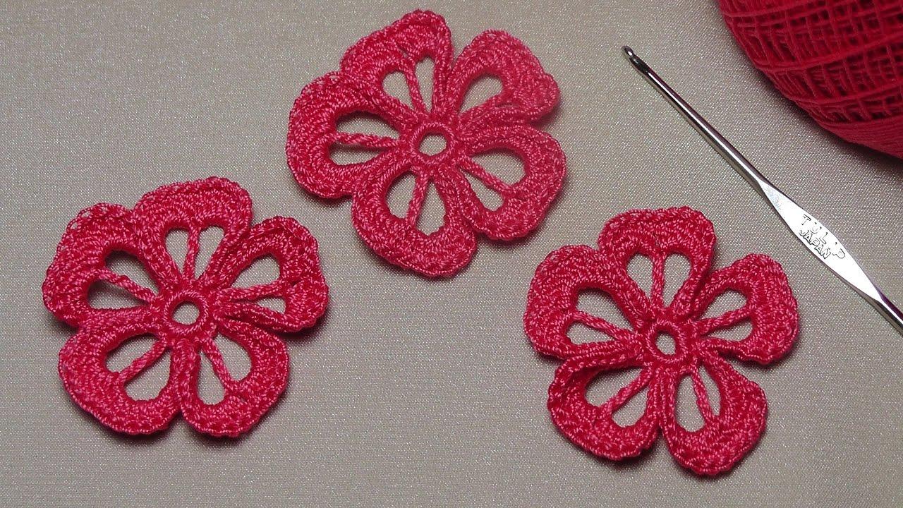 мастер класс вязание простого цветка урок вязания крючком для