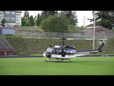 Snohomish County Sheriff Helicopter leaving Stanwood High School