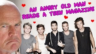 an angry old man reads a teen magazine