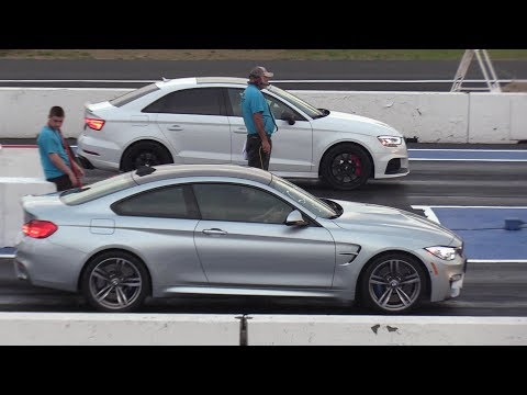 Audi RS3 Vs BMW M4 Vs V8 AMG Mercedes & Vs VW Golf - Drag Racing