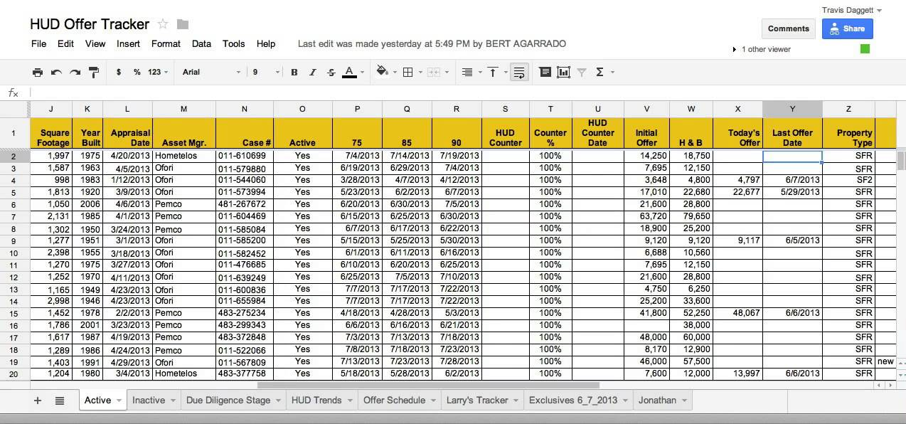 Free Google Docs And Spreadsheet Templates Smartsheet Wholesaling Real Estate How To Track Hud Offers Youtube