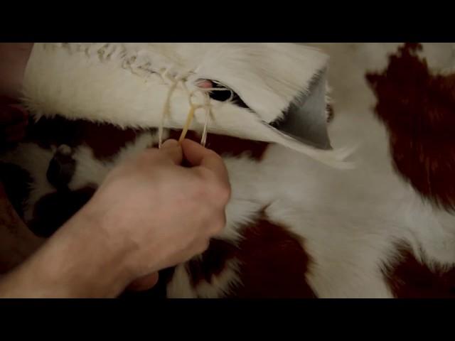 Sewing with palaeolithic  bone needle