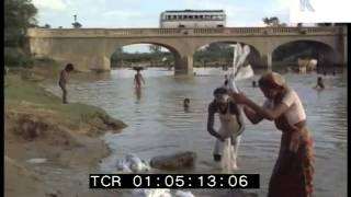 1970s Tamil Nadu, People Wash in the river, 35mm India Archive Footage