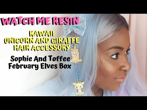 WATCH ME RESIN - Kawaii Unicorn and Giraffe Hair Accessory - Sophie and Toffee February Elves Box