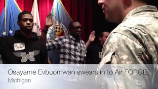 Osayame Evbuomwan (papa) swears in to the Air Force Thumbnail