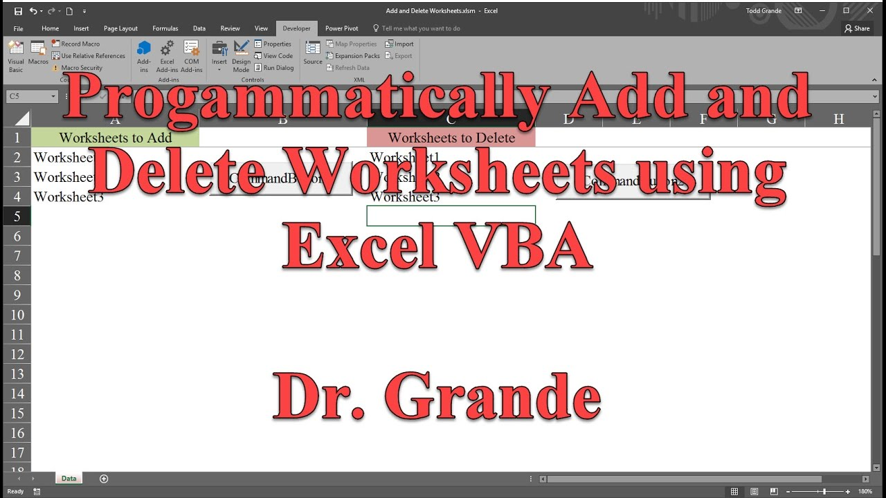 Programmatically Add and Delete Worksheets using Excel VBA YouTube – Worksheets Vba