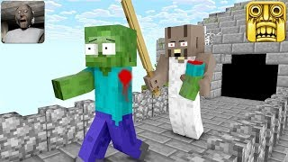 Monster School : GRANNY HORROR GAME VS TEMPLE RUN - Minecraft Animation