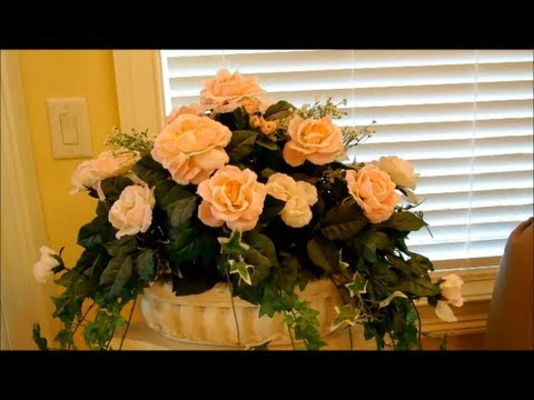 How to make silk flower arrangements part 1 flower for Artificial flowers decoration home