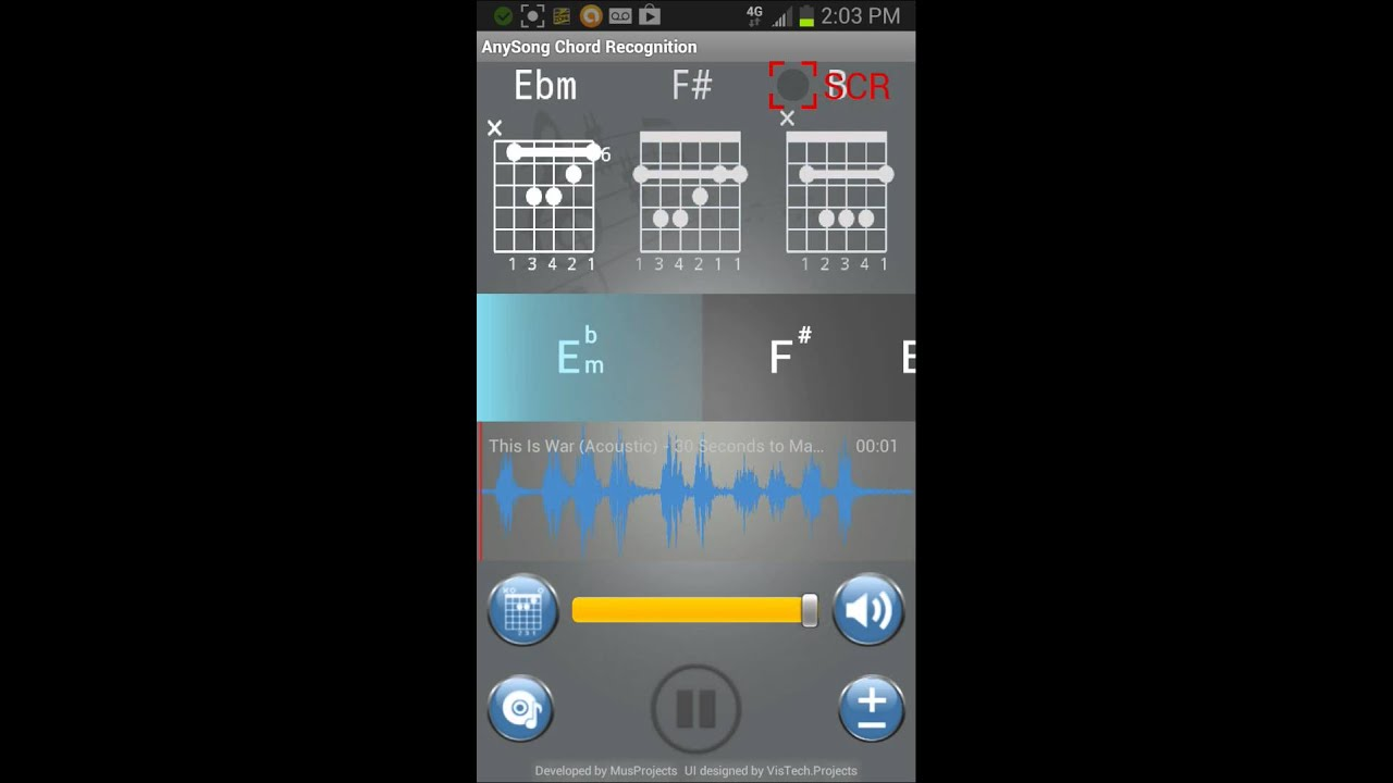 ( UPDATE- This app will NOT work past Android 4 3)Anysong chord  recognition-great tool for beginners