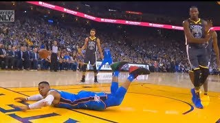 Russell Westbrook Slips But Kevin Durant Gets a Foul! Warriors vs OKC Thunder