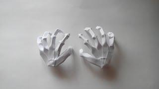 Как сделать из бумаги руку(Бумага: офисная А4, 80г/м²; Пропорции: делаем обычный квадрат из листа A4. Автор: Jeremy Shafer; Схема: Origami Hand Skeleton...., 2014-03-21T09:42:05.000Z)
