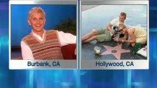 Ellen Monitors Her Walk of Fame Star