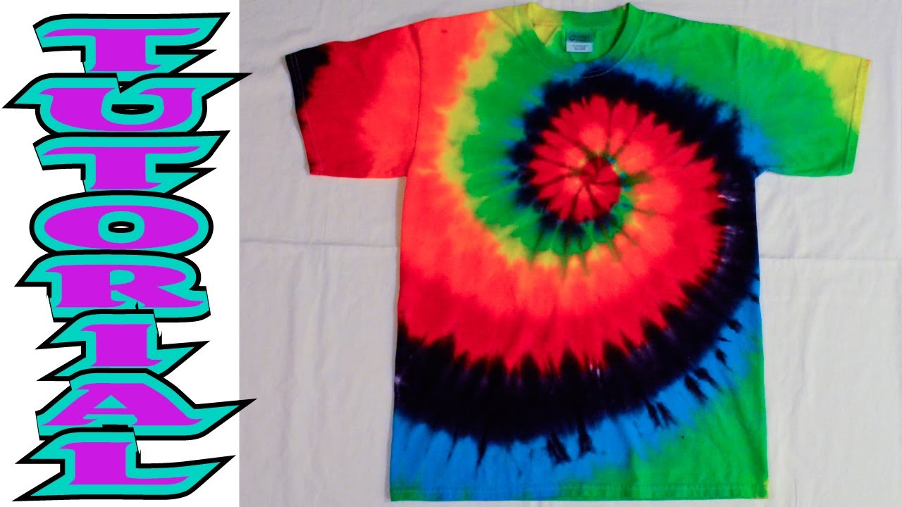 How to Tie Dye a Rainbow Spiral or swirl shirt [Full Tutorial] #9 ...