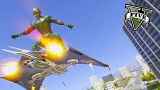 Spiderman - Ultimate Green Goblin Mod ! Massacre WIth Glider (GTA 5 Mods Gameplay)🏄
