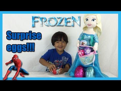Ryan opens easter eggs with SuperHero toys inside