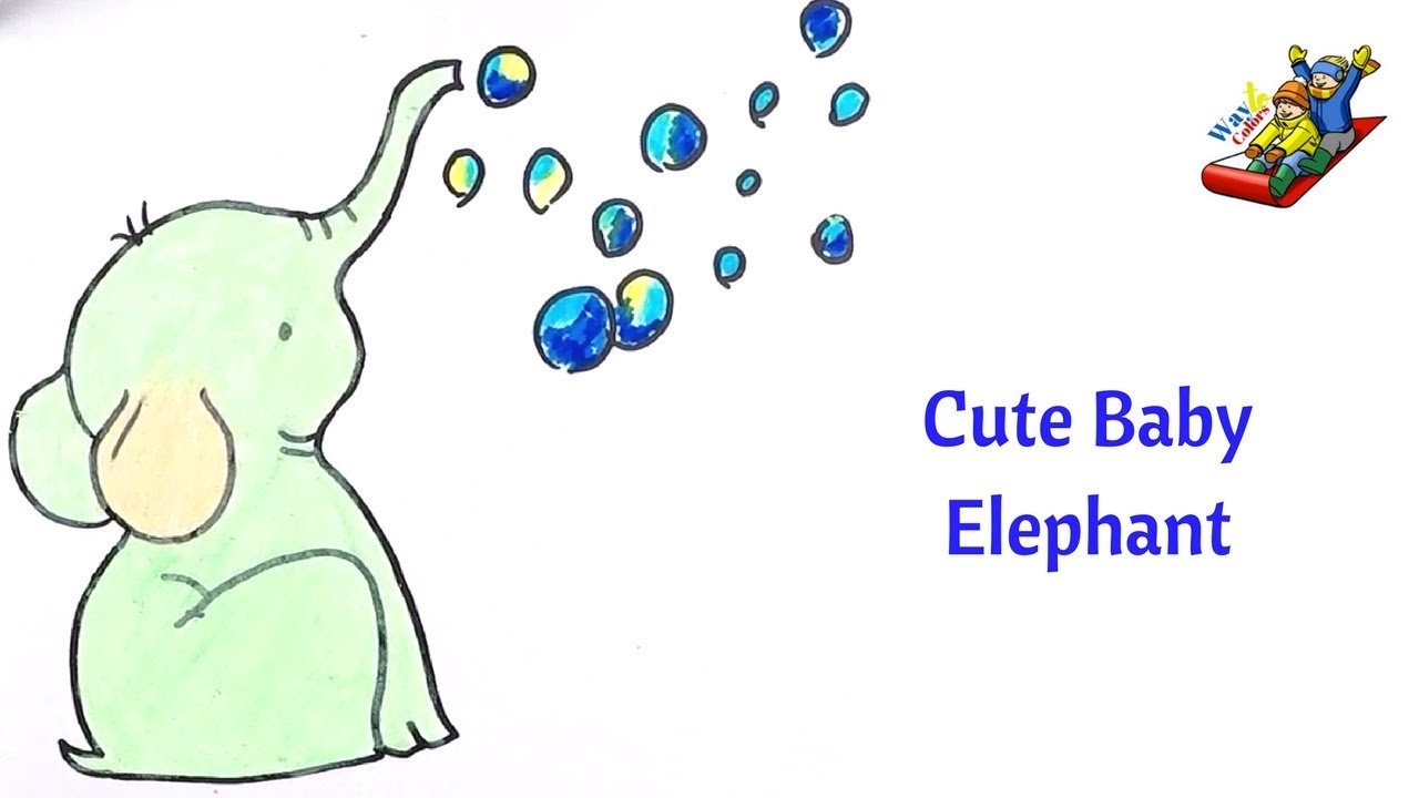 How to draw Cute baby elephant | Coloring pages for kids with ...