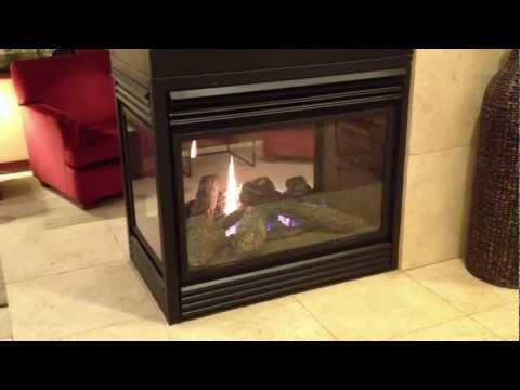 Napoleon See Thru Gas Fireplace Three Sided Peninsula Burn Video Product Review Corner BGD402 BGD403