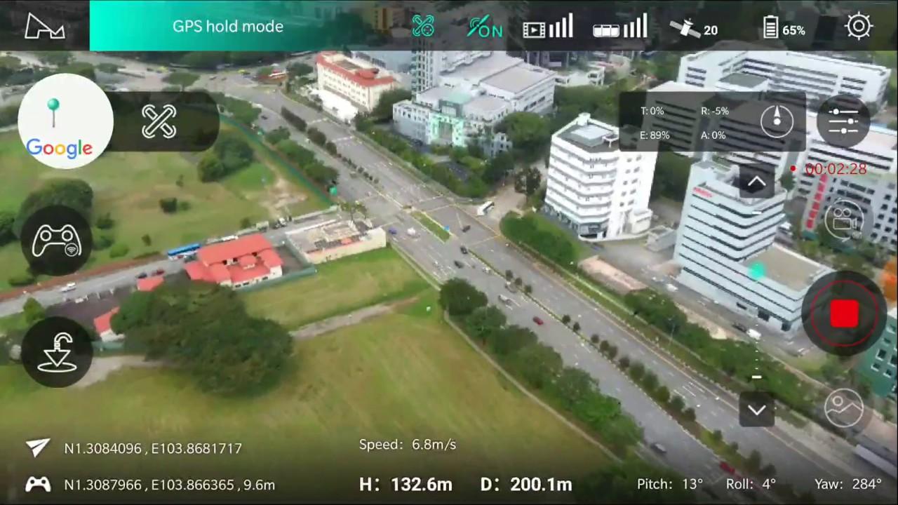 App screen capture) Hubsan Zino at Kallang Road Field, Singapore ...