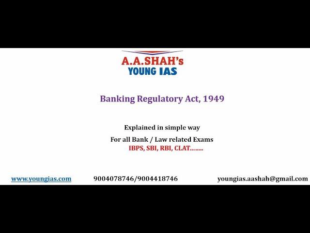 Banking Regulation Act, 1949 | banking regulation act 1949 lecture