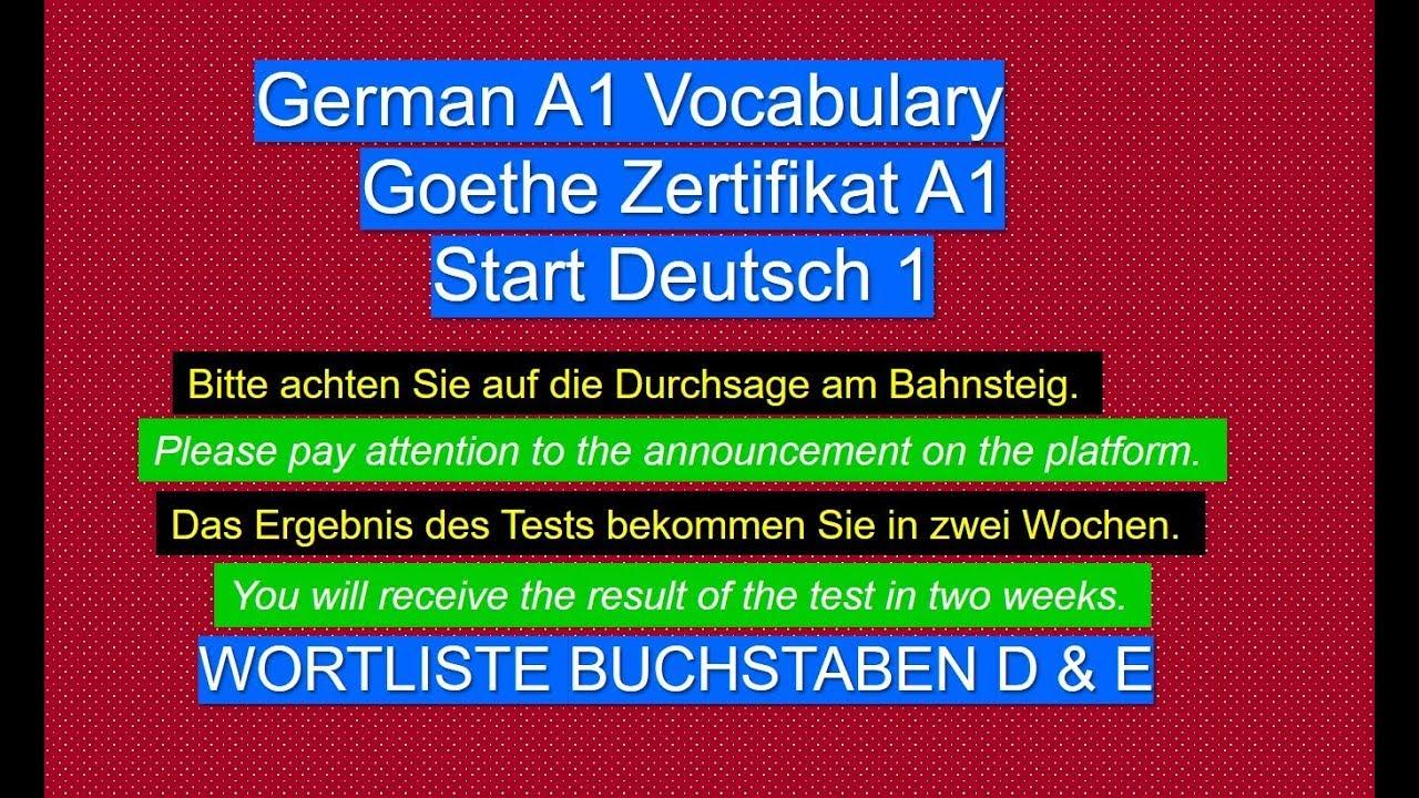 Institut wortliste goethe a1 Zertifikat B1