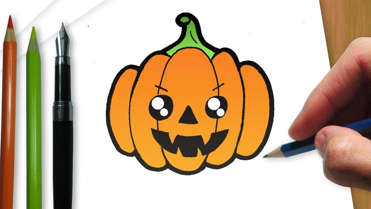 como desenhar uma abóbora de halloween youtube
