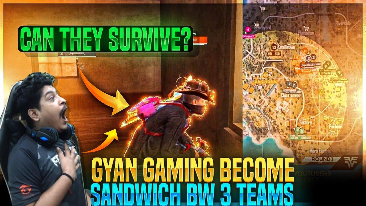 CAN WE SURVIVE ??😱   Sandwich Ban Gaye 3 Teams Ke Beech Me🥺   #GyanGaming   