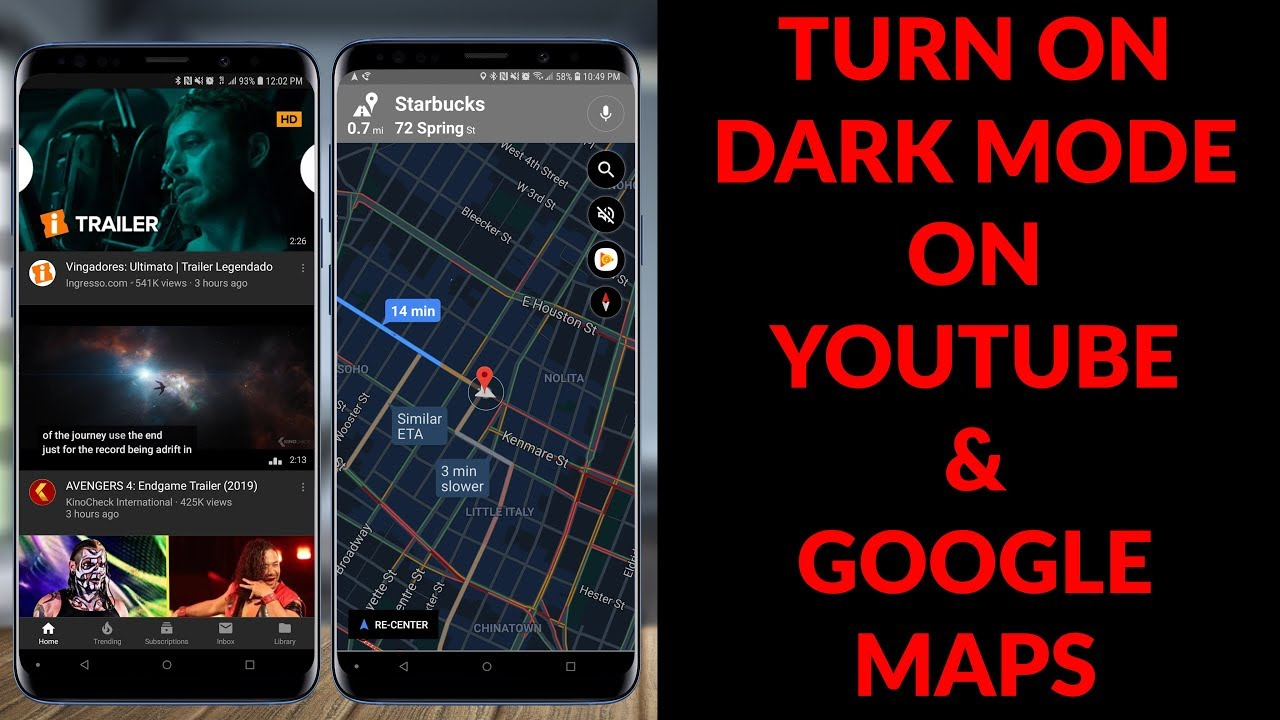 How To Enable Dark Mode On Youtube Google Maps For Android Ios
