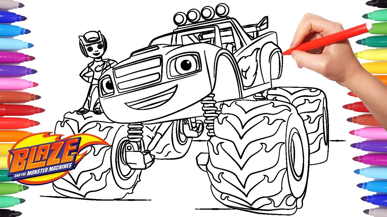 Blaze And The Monster Machines Coloring Pages Coloring Aj And
