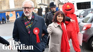 Protester In Elmo Suit Restrained As Jeremy Corbyn Arrives To Vote