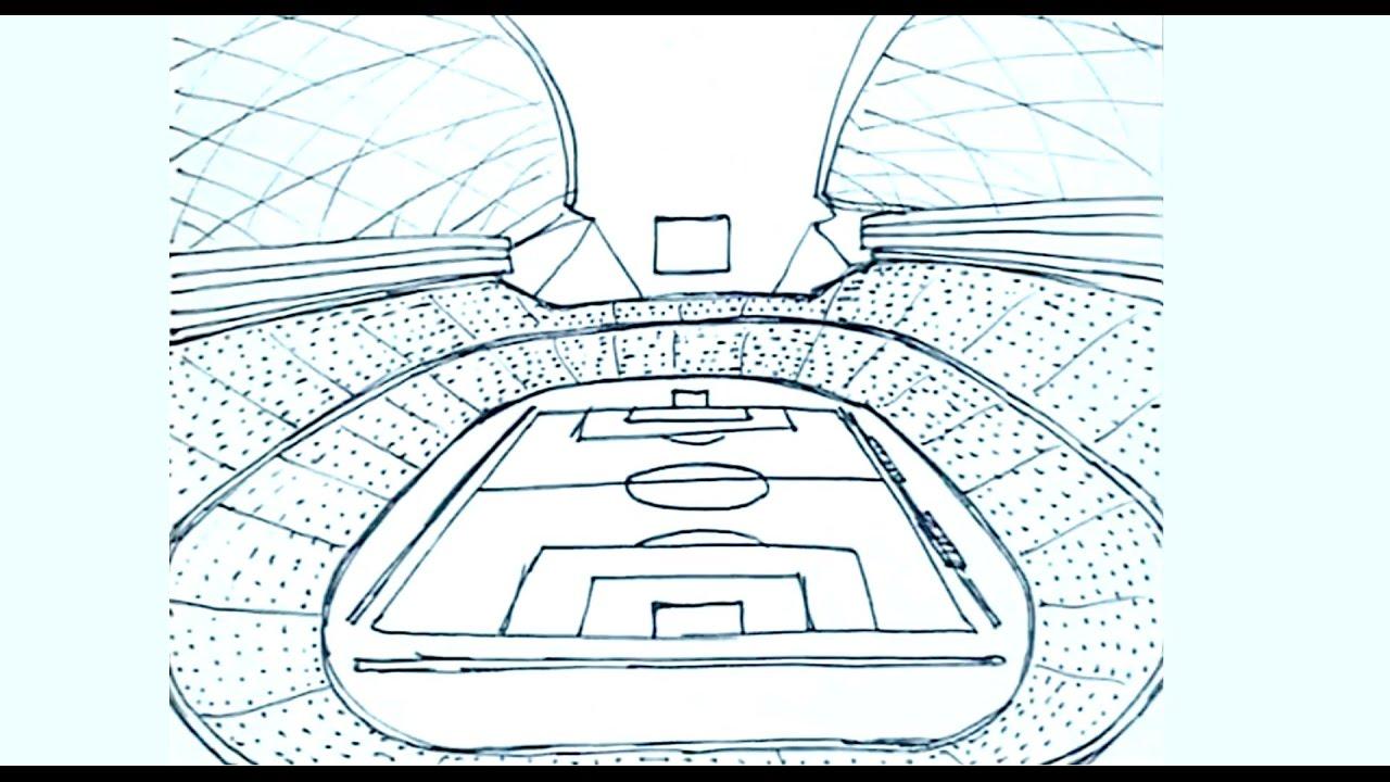 Cómo Dibujar Un Balón De Fútbol Fácil: Dibujos De Estadios De Futbol 1/2