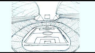 Dibujos de estadios de futbol 1/2 - Cómo dibujar un estadio de futbol - perspectiva