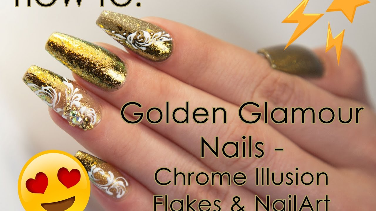 HOW TO: AURORA FLAKES for Golden Glamour Nails - YouTube