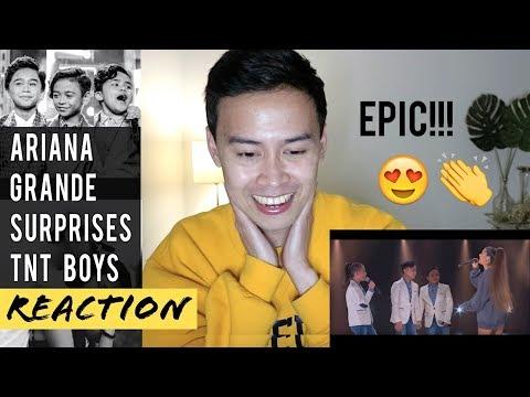 ARIANA GRANDE SURPRISES THE TNT BOYS REACTION!!!