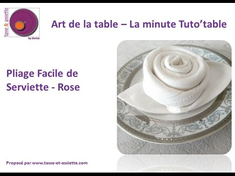 Pliage de serviette en tissus rose youtube for Pliage serviette bouton de rose