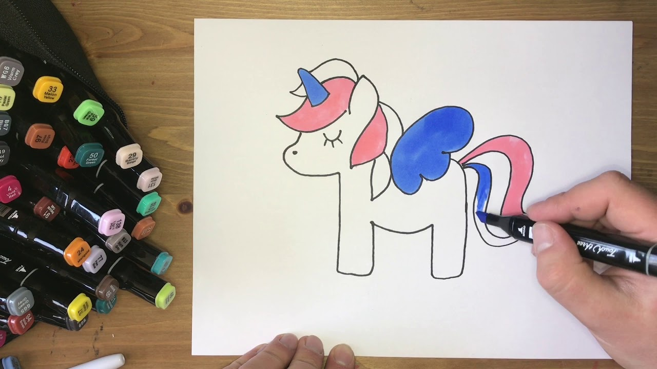 #ARTCLUB How to simply draw a lovely Unicorn. Drawing with Sharpie and Touch Three markers.