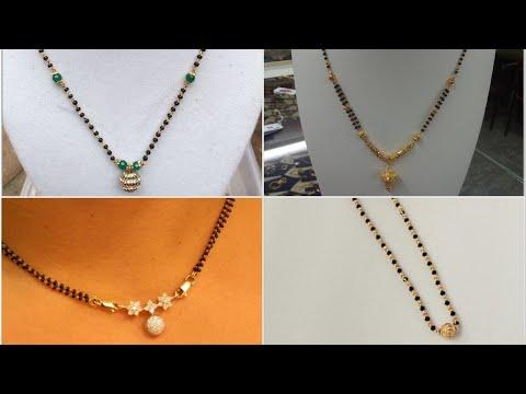 Light Weight Black Beads Gold Chain Designs