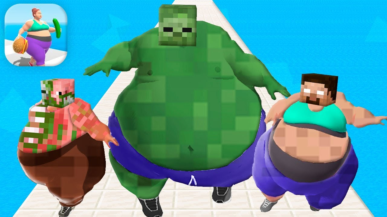 MONSTER SCHOOL: Fat 2 Fit MAX LEVEL 7 MOBILE GAME - Minecraft Animation
