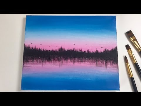 Acrylic Sunset Forest Painting Tutorial For Beginners
